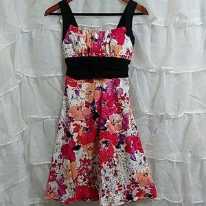 New B. SMART Cotton Spandex Floral Sun Dress T34
